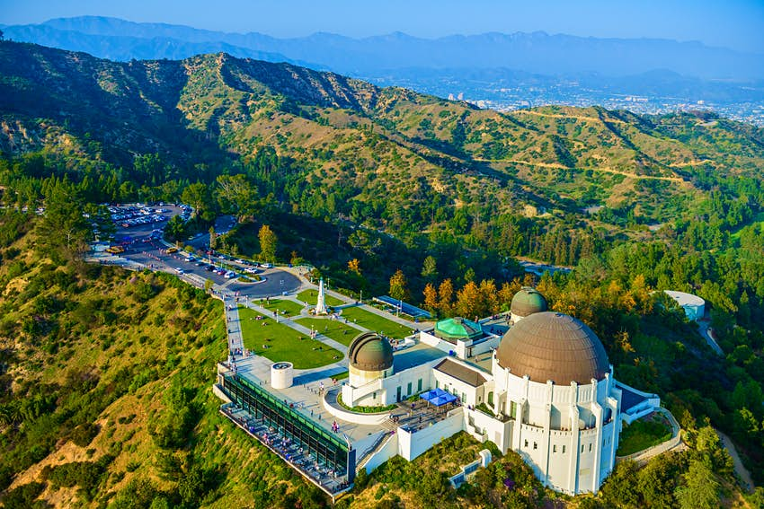 An aerial view of Griffith Observatory in Los Angeles