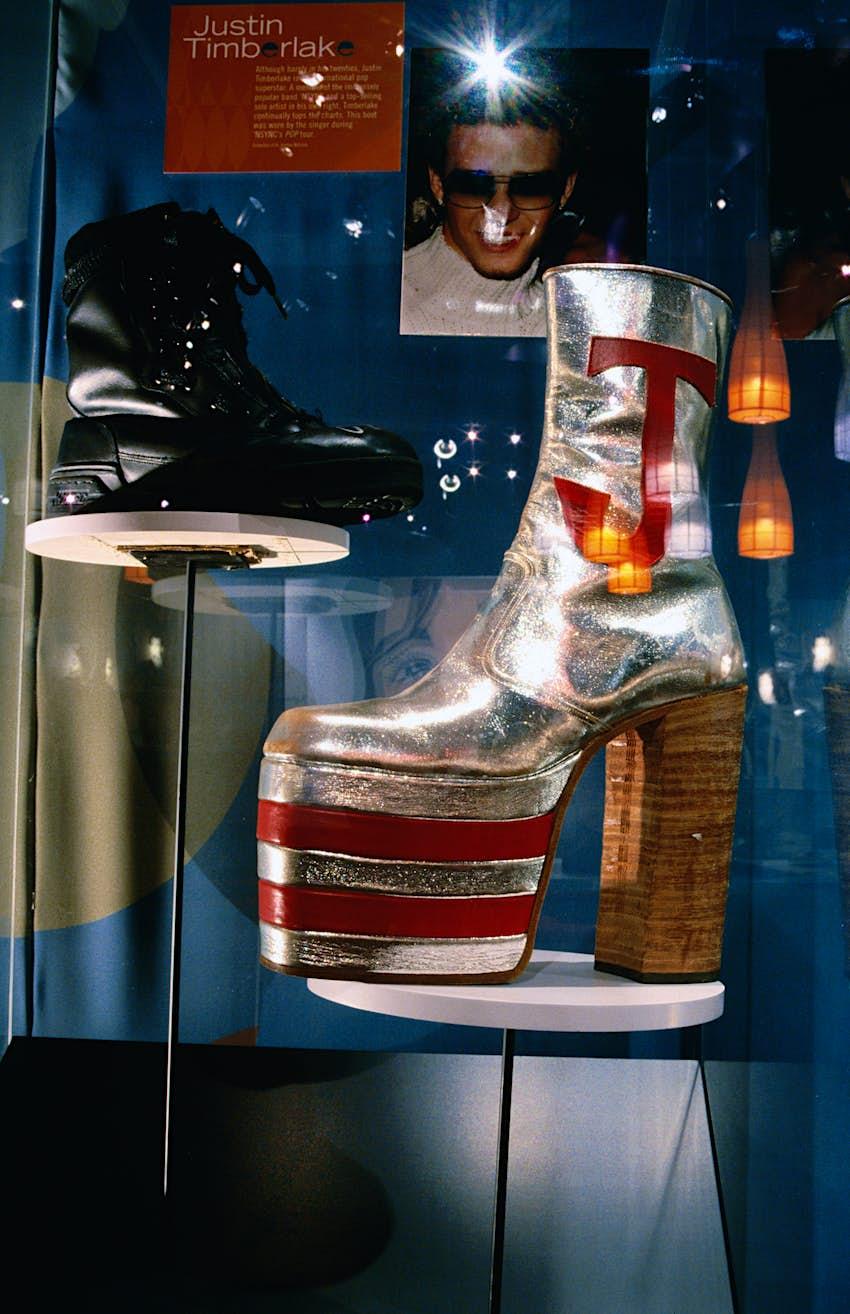 Shoes of Justin Timberlake and Elton John in Bata Shoe Museum, Toronto