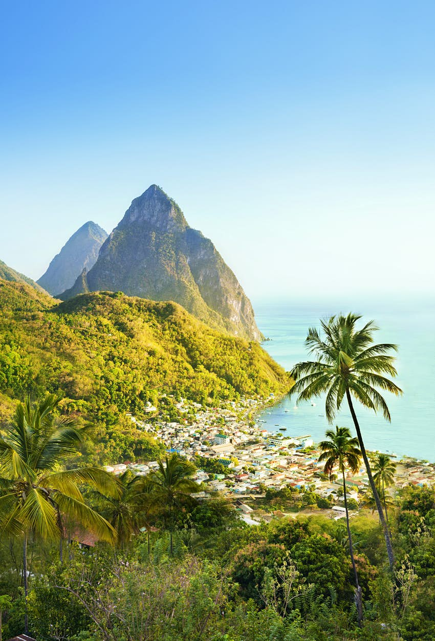 Overview of The Pitons in St Lucia