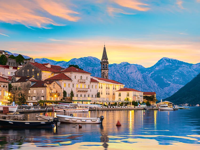 Historic city of Perast in the Bay of Kotor in summer at sunset; Shutterstock ID 1498592696; your: Ben N Buckner; gl: 65050; netsuite: CS; full: Montenegro