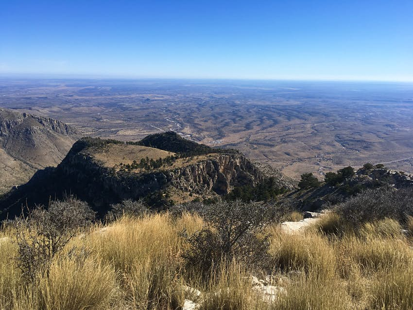 The Guadalupe Peak trail on a sunny day in Guadalupe Mountains National Park