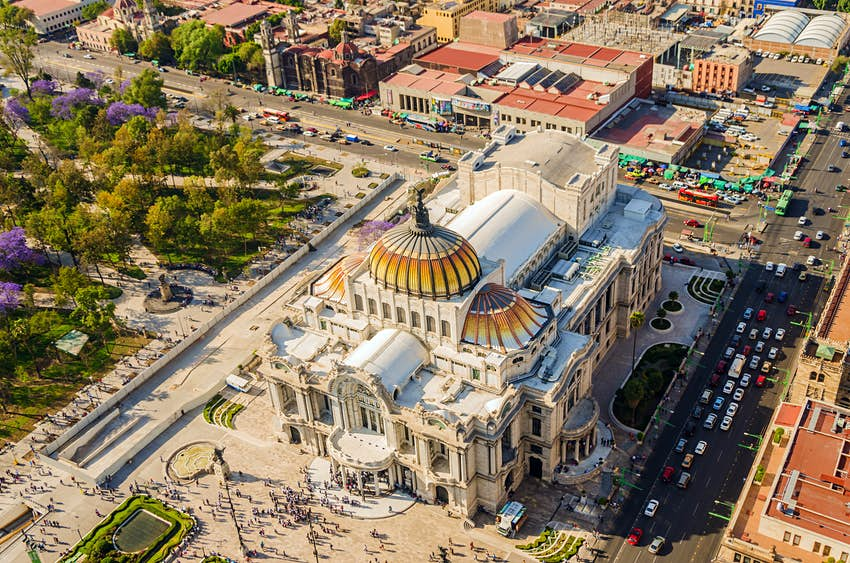 Aerial view of the Fine Arts Museum in Mexico City