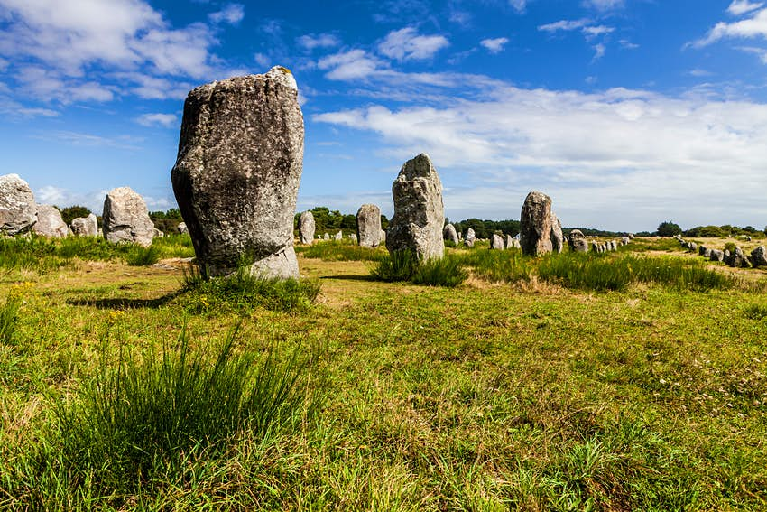 Open grassland with rows of large free-standing stones