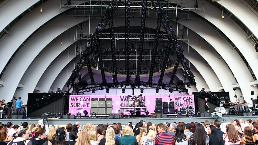 A crowd in front of the stage at the Hollywood Bowl