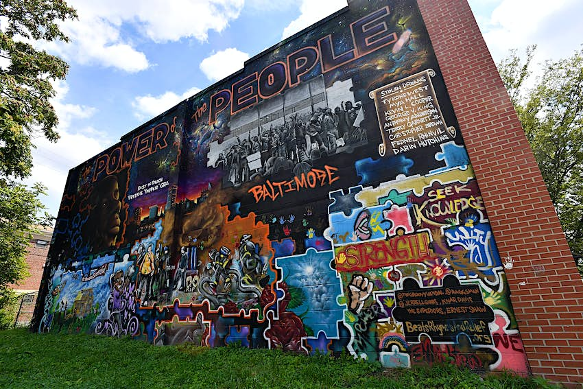 Colorful mural dedicated to Freddie Gray and others who have died in police custody.