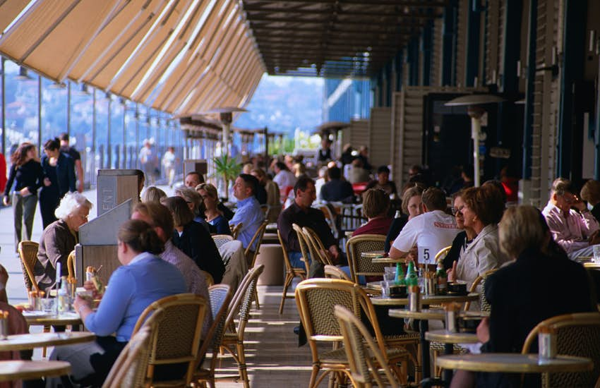 Outdoor eating options at Sydney's Woolloomooloo Finger Wharf