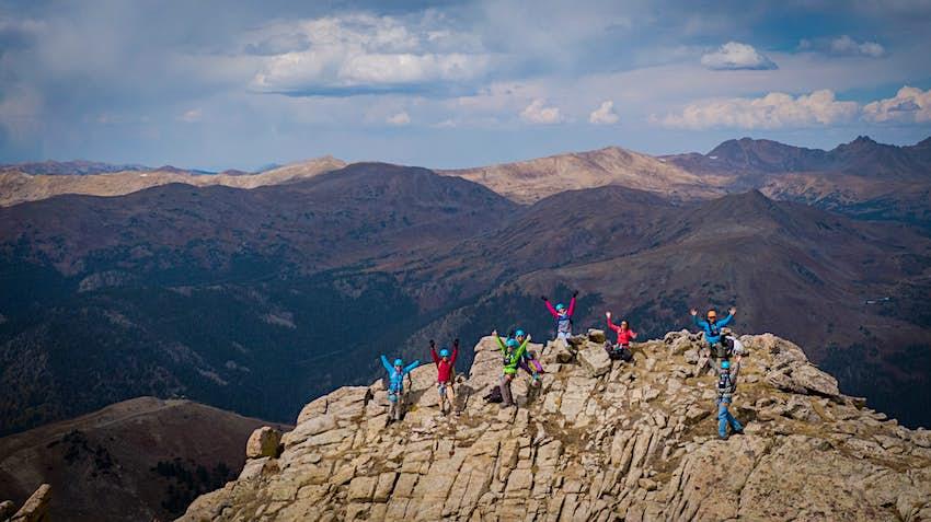Climbers on the via ferrata summit