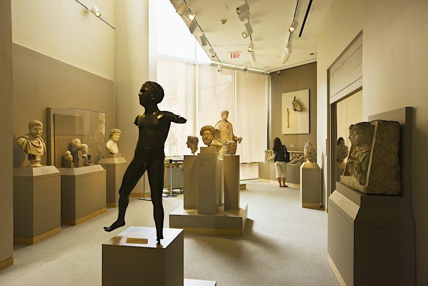 Ancient art of sculptures at Walters Art Museum in the Mount Vernon neighborhood of Baltimore.