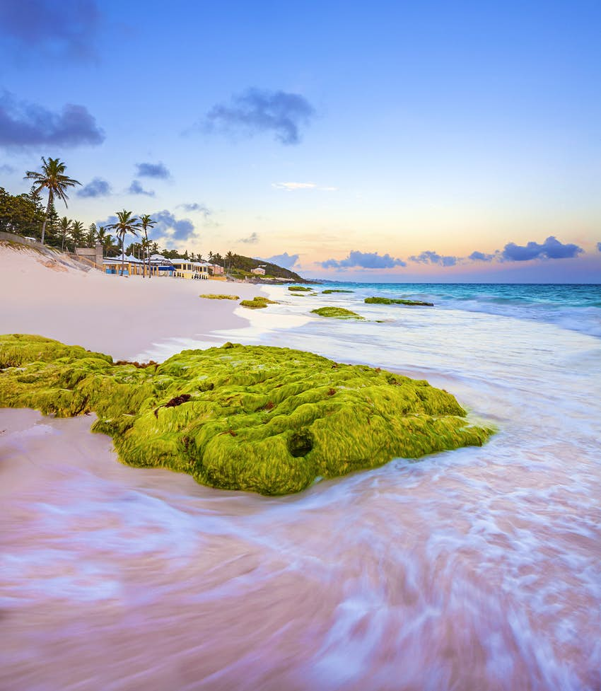 A view along Elbow Beach in Bermuda at sunset