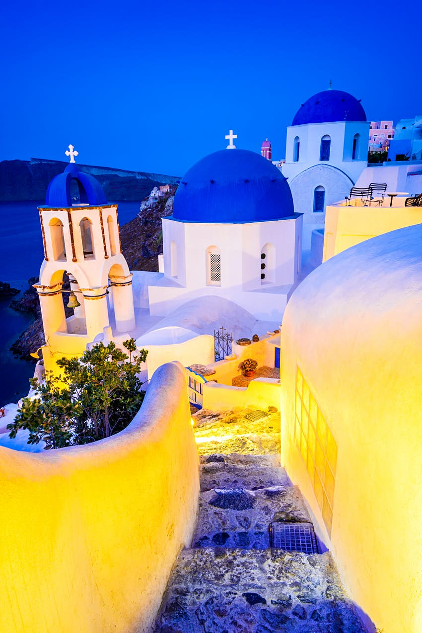 Staircase in the white village of Oia, Santorini, at night