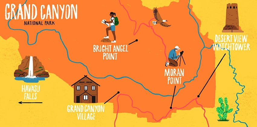 An illustrated map depicting the Grand Canyon