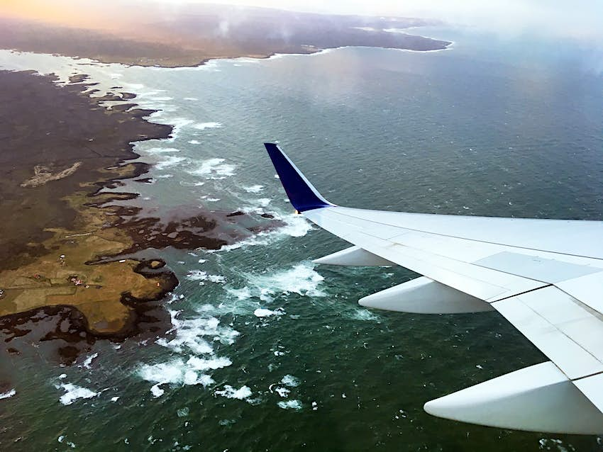 An aerial view of the coast of Iceland