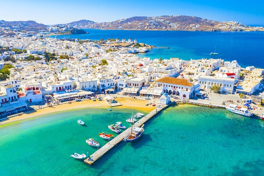 Aerial of a jetty at Mykonos town.
