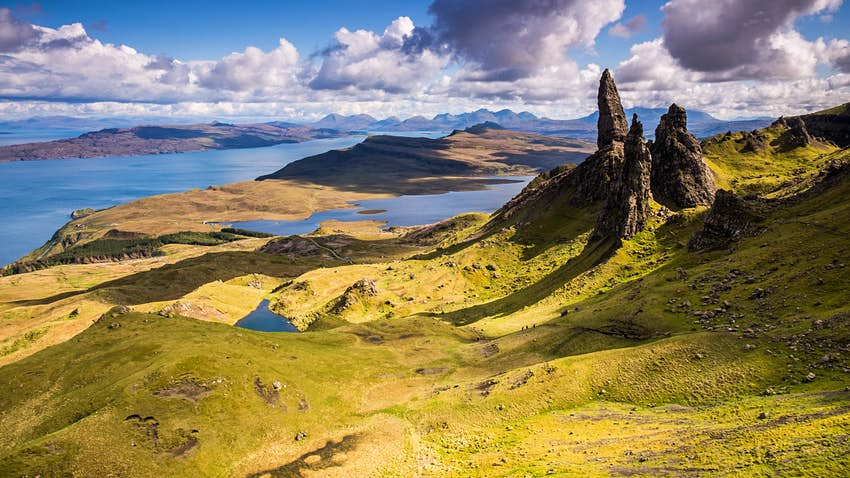 Landscape and view of the Old Man of Storr on the Isle of Skye, Scotland