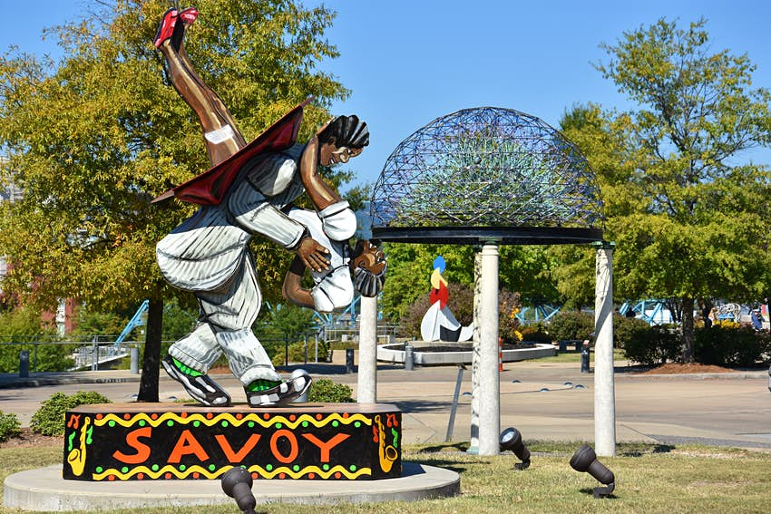 Sculptures on display in Chattanooga's Bluff View Arts District