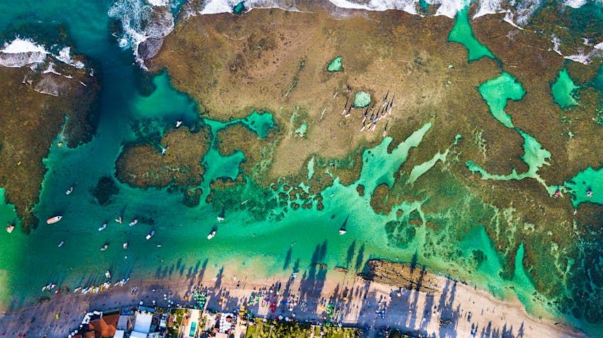 Aerial of the Porto de Galinhas beach in Pernambuco state.