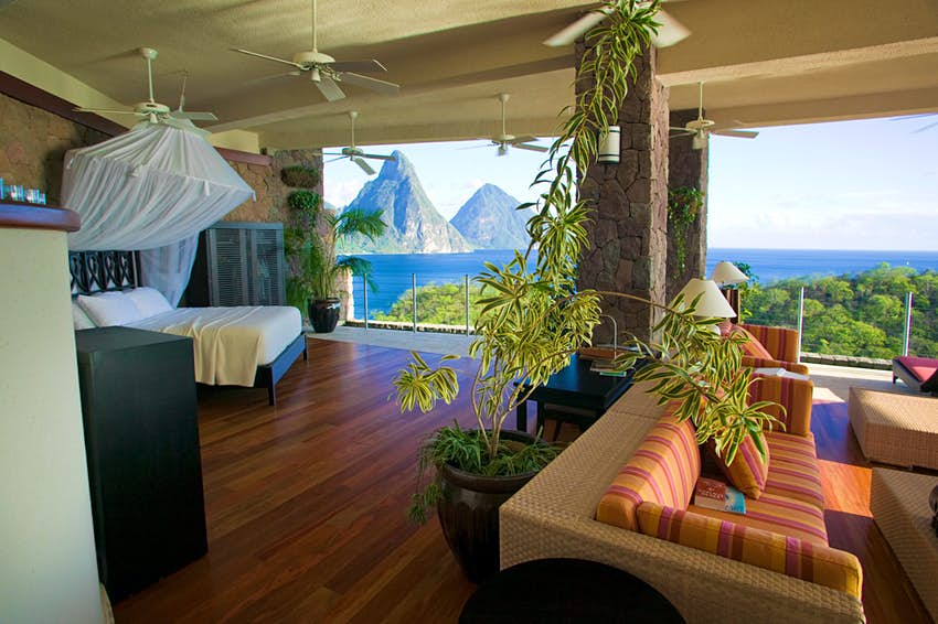 E45NM6 Luxury hotel room looking over the Pitons, Jade Mountain hotel, St Lucia, May 2007