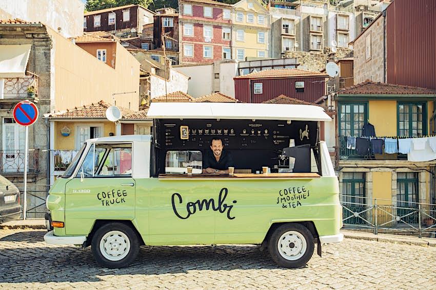 Barrasita in a pistachio-green Combi coffee truck.