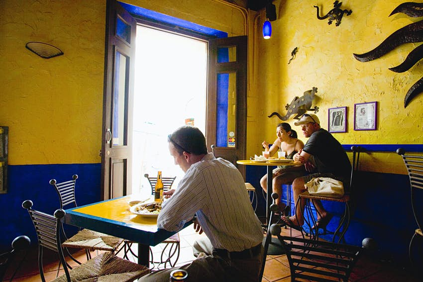 Diners in a Restaurant in Old San Juan