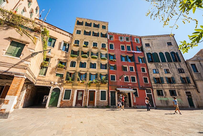 worms eye view of Jewish quarter apartments, in Cannaregio Venice, Veneto, Italy