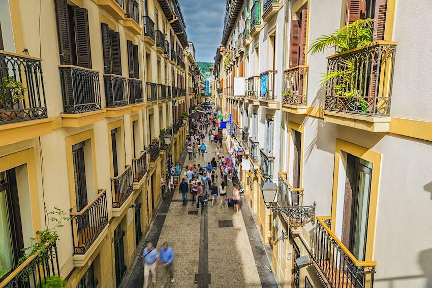 Narrow Street Full of People of San Sebastian Old Town, Spain