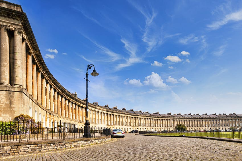 a wide shot of the Royal Crescent