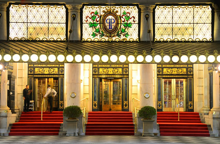 The grand, main entrance of The Plaza Hotel, New York City