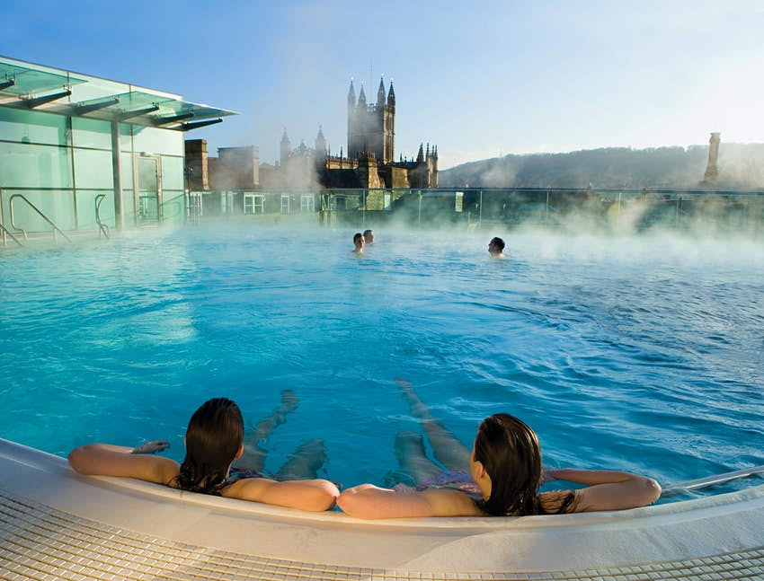 People soaking in the waters at Thermae Bath Spa