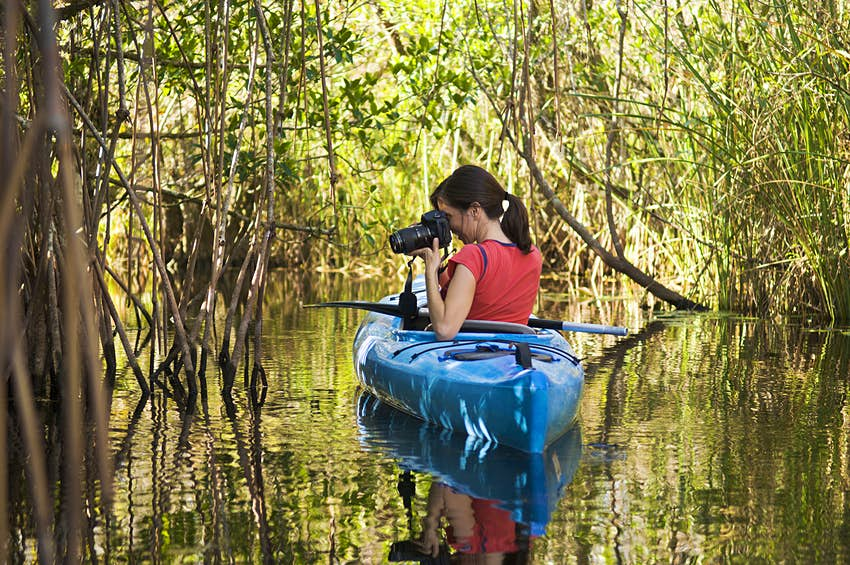 woman takes photos from a blue kayak in a mangrove swamp in the Everglades © Gable Denims