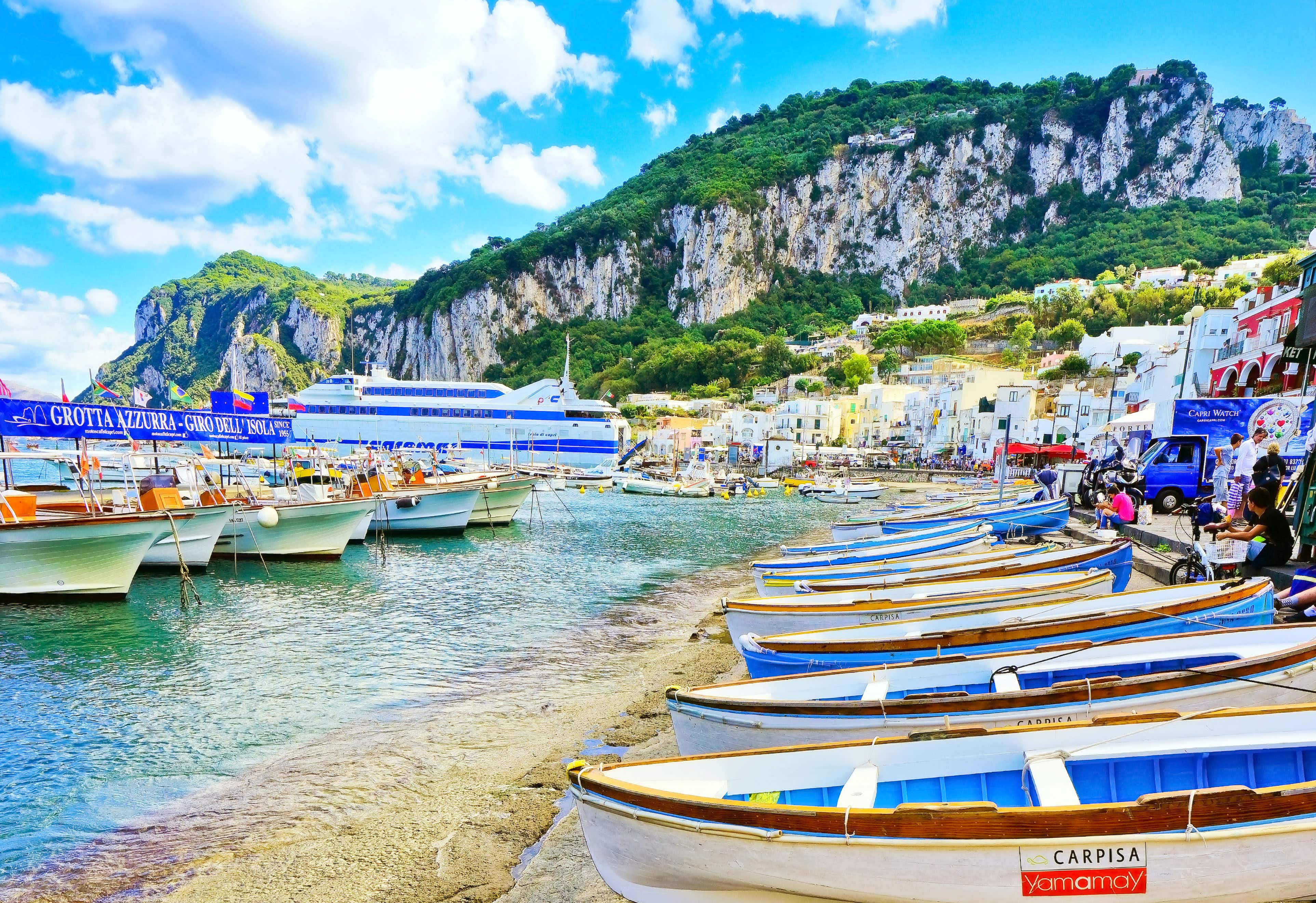 Boats fill the harbour and beach at Marina Grande on the Island of Capri, Italy © Javen / Shutterstock