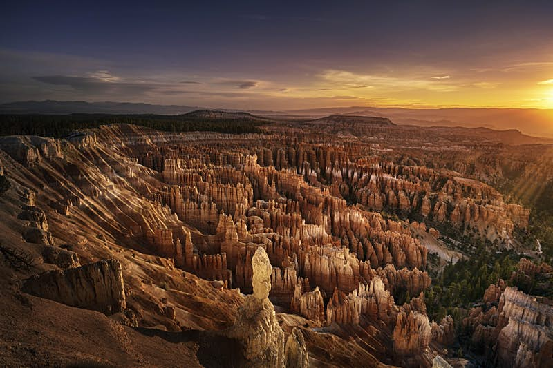 Morning sunlight over the amphitheater at Bryce Canyon viewed from Inspiration Point.