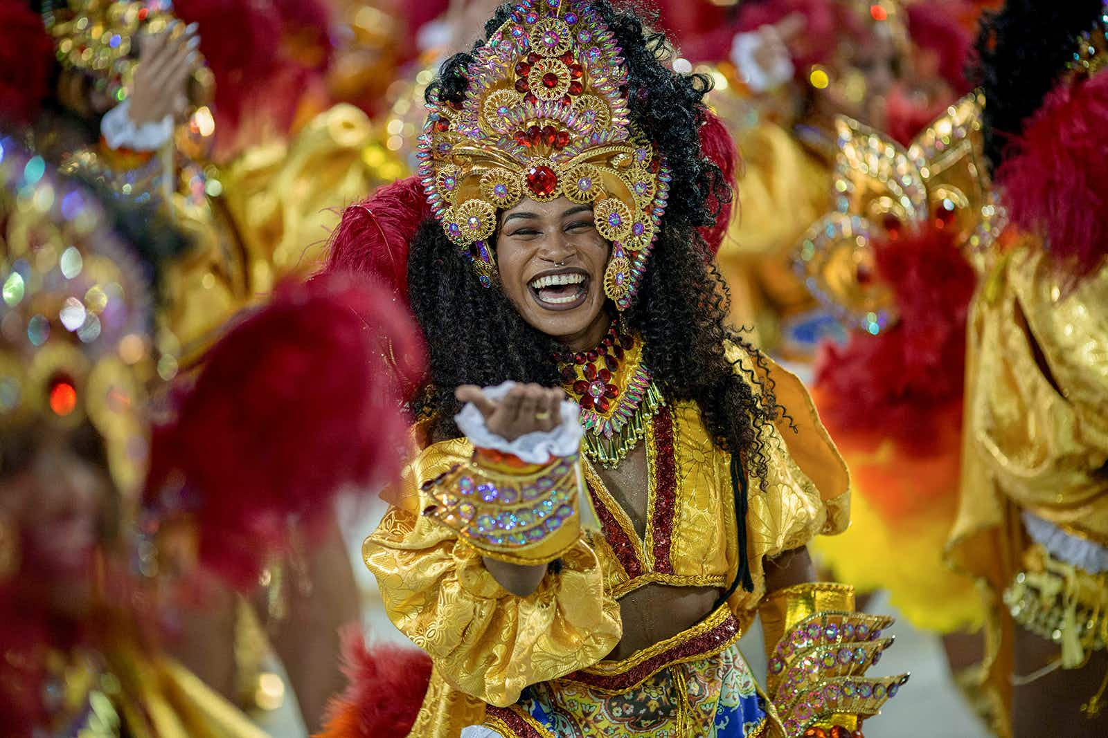 A reveller of the Sao Clemente performs on the first night of Rio's Carnival at the Sambadrome in Rio de Janeiro, Brazil, on February 11, 2018. / AFP PHOTO / Mauro PIMENTEL        (Photo credit should read MAURO PIMENTEL/AFP/Getty Images)