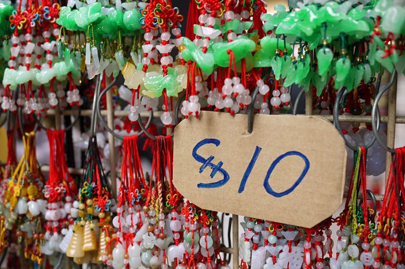Cheap and knock-off jade jewellery is easy to find in Hong Kong. Image by Michael McComb / CC BY 2.0