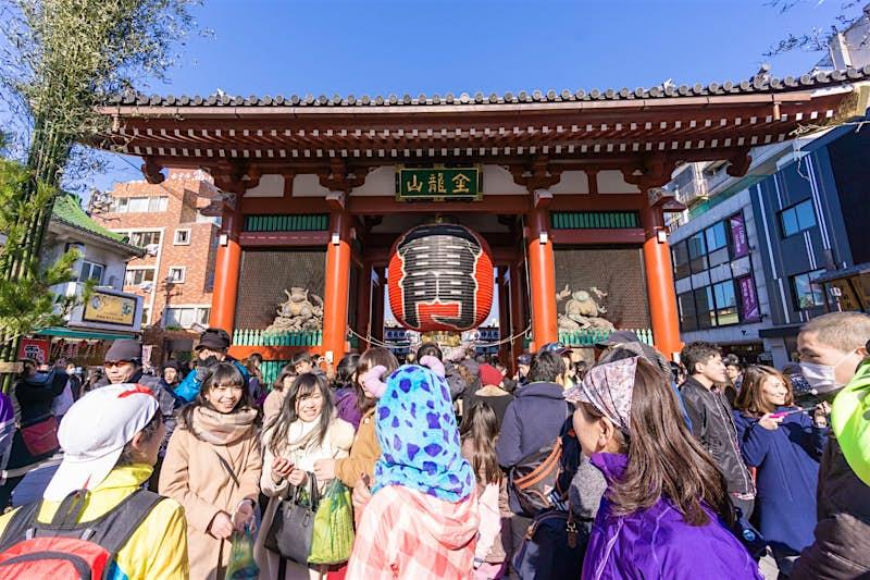 Visitors at Sensō-ji temple, Tokyo