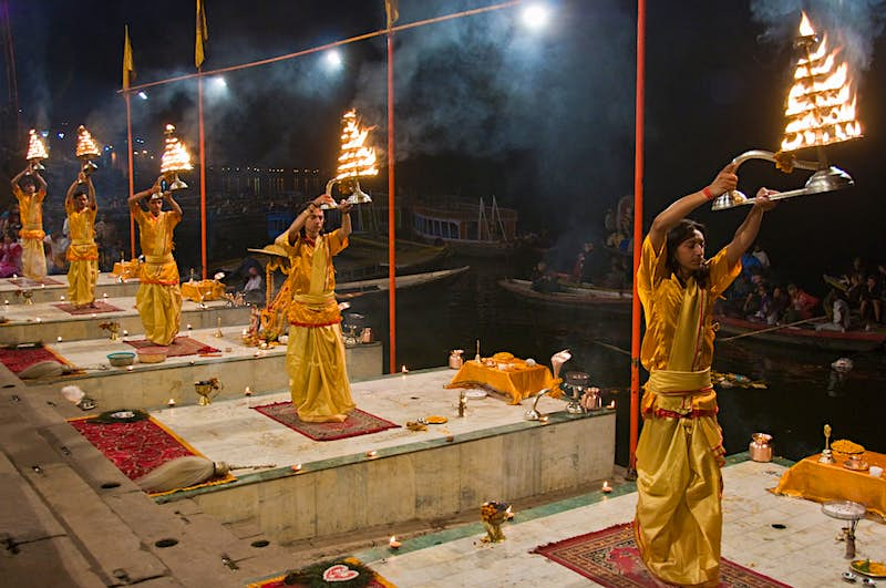 The evening aarti ceremony fills Dashashwamedh Ghat with incense, flames and music