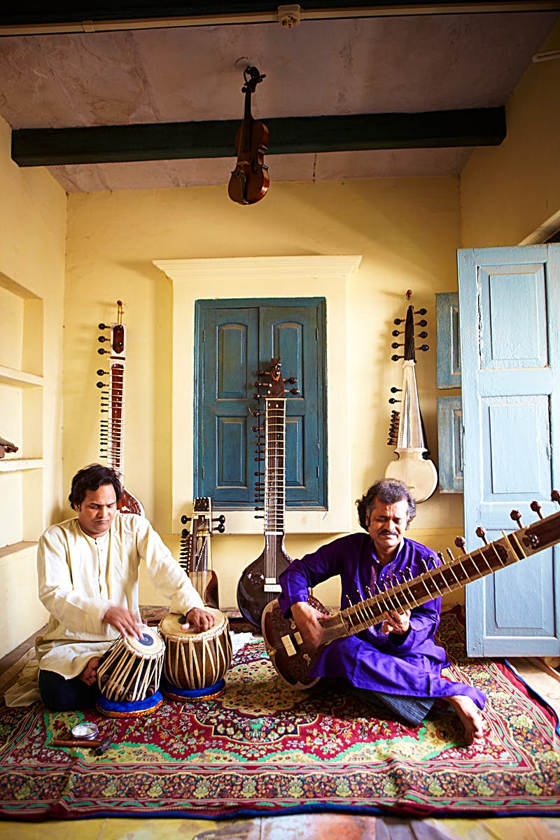 Musicians playing sitar and tabla in the Old City