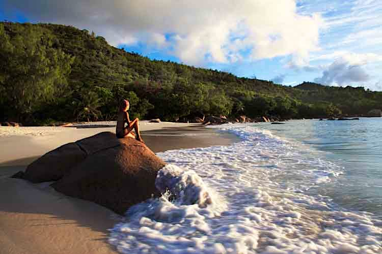 An idyllic spot on Anse Lazio beach on Praslin in the Seychelles. Image by Ruth Eastham & Max Paoli / Lonely Planet Images / Getty Images.