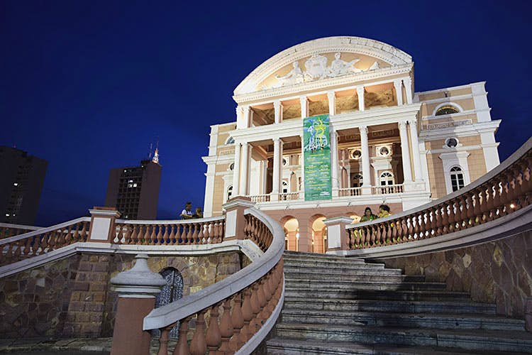 A sweeping staircase leads up to Manaus's Teatro Amazonas. Image by Ian Trower / age fotostock / Getty Images.
