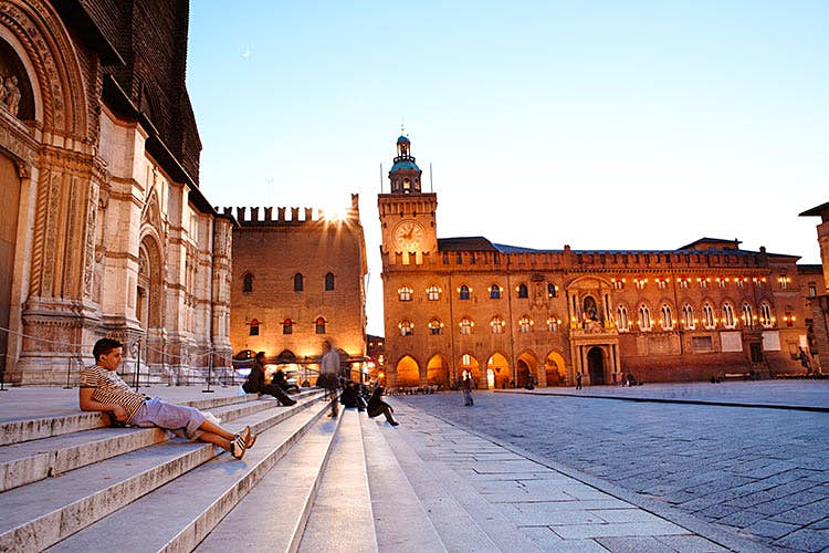 Bologna's Piazza Maggiore, flanked by Renaissance mansions. Image by Lonely Planet Traveller