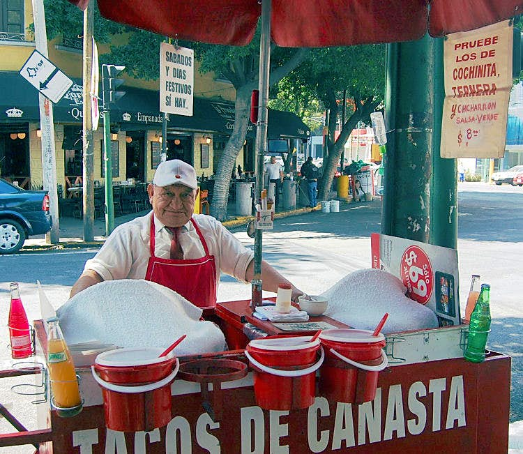 Tacos de Canasta from the affable Senor. Image by Katja Gaskell / Lonely Planet