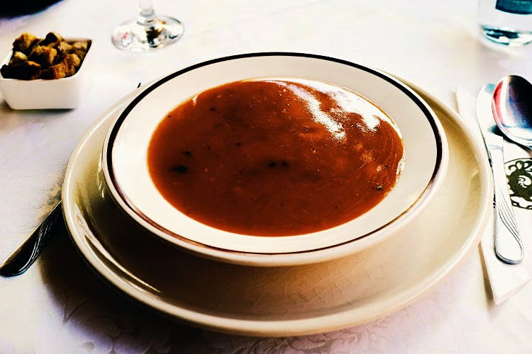Tomato soup featured as 'Dracula's Blood' in Sighişoara. Image by Mark Baker / Lonely Planet
