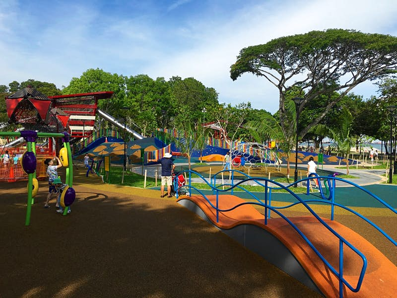 Kids playing at the Marine Cove playground in Singapore's East Coast Park © Ria de Jong / Lonely Planet