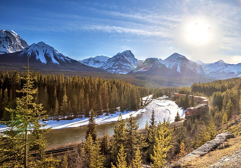 A red freight train curls around Morants Curve in Banff National Park; the track is surrounded by pine trees and there are snow-capped mountains in the background