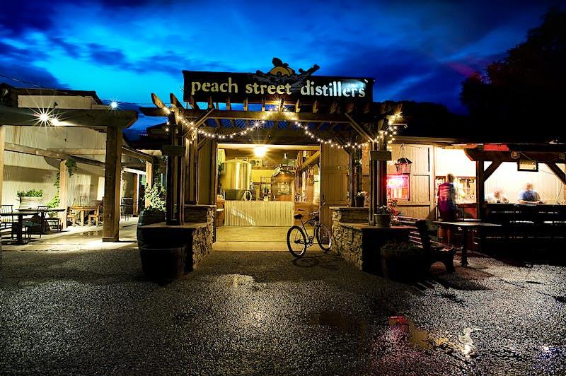 Peach Street Distillers at night. Image courtesy of Peach Street Distillers