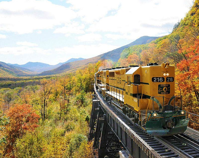 Taking in the fall foliage from the Conway Scenic Railway. Imagecourtesy of the Mount Valley Washington Chamber of Commerce.