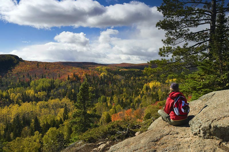 Taking in a scenic autumn view along the Superior Hiking Trail northeast of Duluth. Jim Kruger / E+ /Getty Images