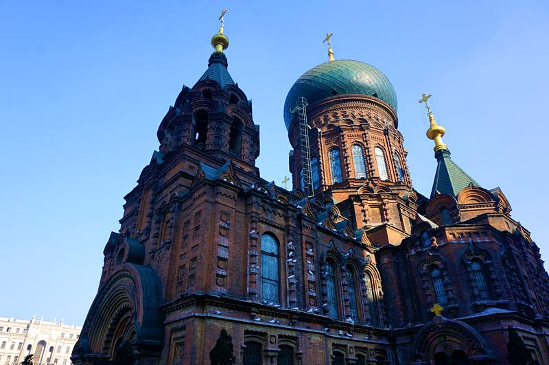 The Church of St Sophia's spires dominate Harbin's old town. Image by Anita Isalska / Lonely Planet