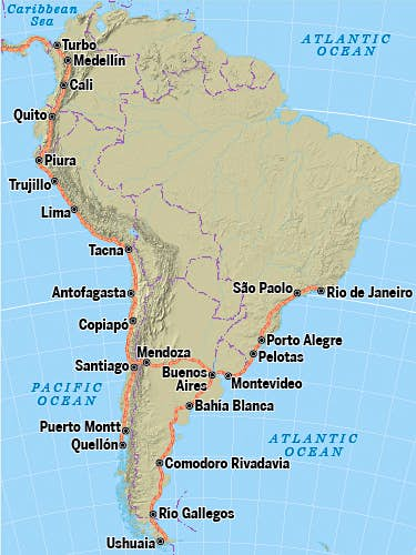 In South America the PAH runs through the continent's Pacific Coast countries before ending up in Argentina.
