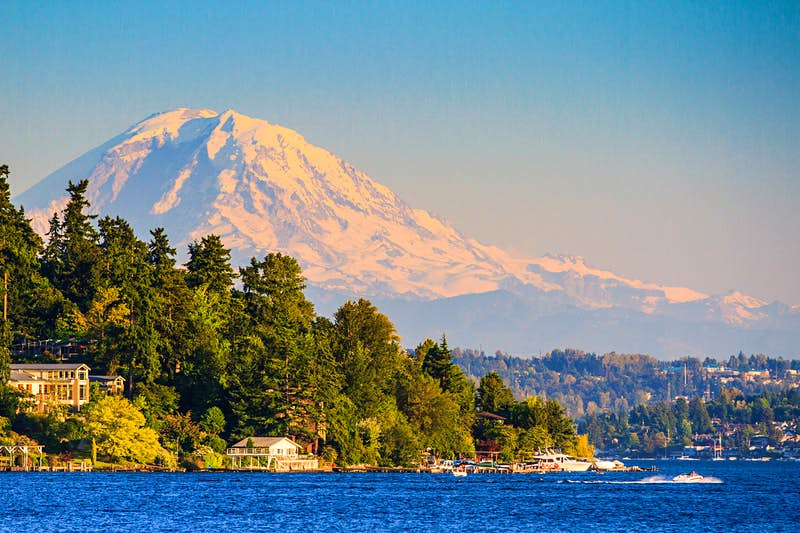 Mt Rainier and Lake Washington at sunset. Image by Feng Wei Photography / Movement / Getty