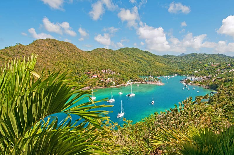 The spectacular setting of Marigot Bay, St Lucia